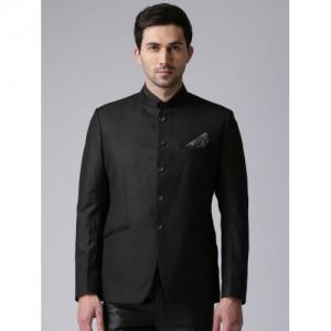 True Blue Men Black Solid Single-Breasted Regular Fit Ethnic Bandhgala Suit