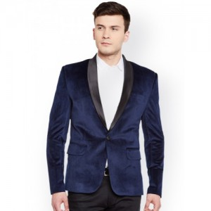 Wintage Navy Single-Breasted Tailored Fit Tuxedo Blazer