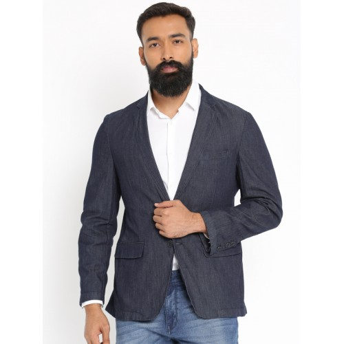 Raymond Blue Single-Breasted Slim Fit Casual Blazer