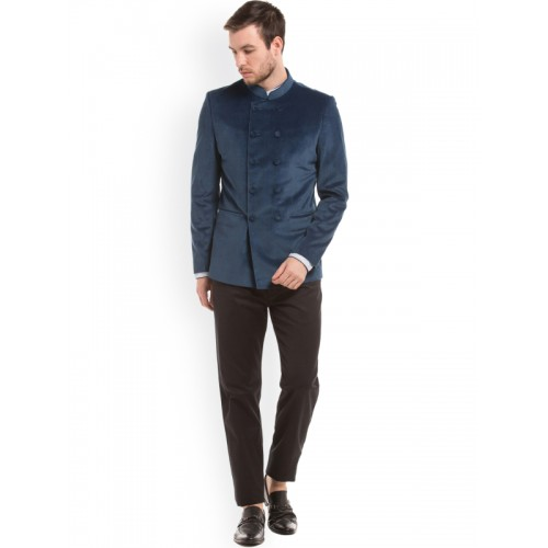 True Blue Blue Regular Fit Double-Breasted Ethnic Bandhgala Blazer