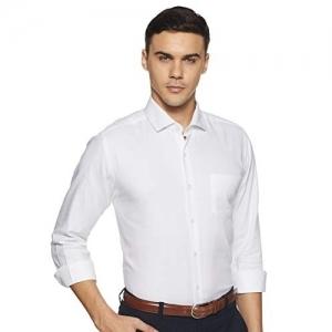 Diverse White Cotton Solid Slim Fit Formal Shirt