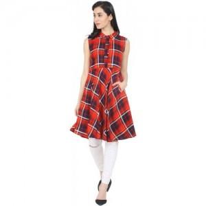 Nayo Women's Checkered A-line Kurta(Red)