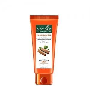 Biotique Bio Sandalwood 50+ SPF UVA/UVB Sunscreen Ultra Soothing Face Lotion 50ml