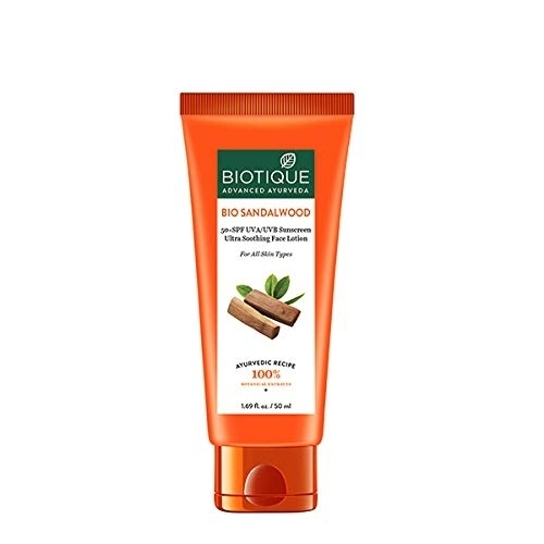 Biotique Bio Sandalwood 50+ SPF UVA/UVB Sunscreen Ultra Soothing Face Lotion 50ml