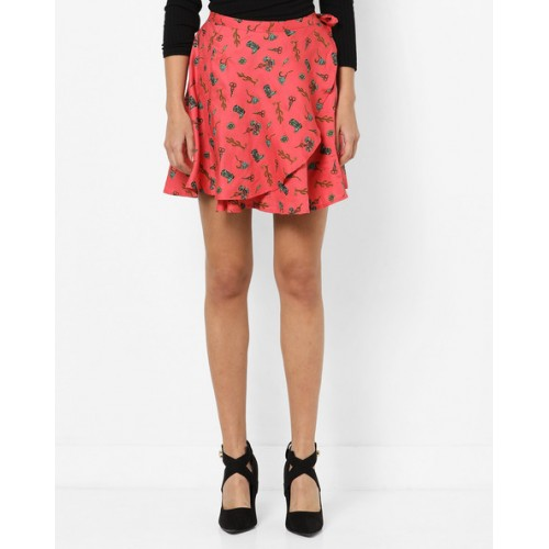 1c7059b00 Buy AJIO Red Cotton Printed Mini Skirt with Tie-Up online | Looksgud.in
