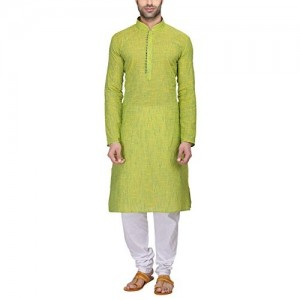 RG Designers Men's Full Sleeve Kurta Pyjama Set AVHandloomLoops-Green