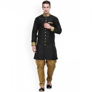 RG Designers Black & Brown Silk Sherwani