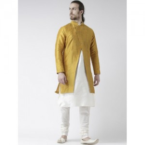 DEYANN Men Yellow & Off White Solid Sherwani with Achkan