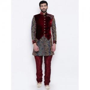 Manu Maroon & Green Woven Design Sherwani