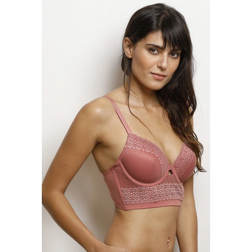 Zivame Dusty Pink Moroccan Lace Underwired Longline Bra