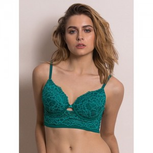 Zivame Green Lace Underwired Lightly Padded T-shirt Bra