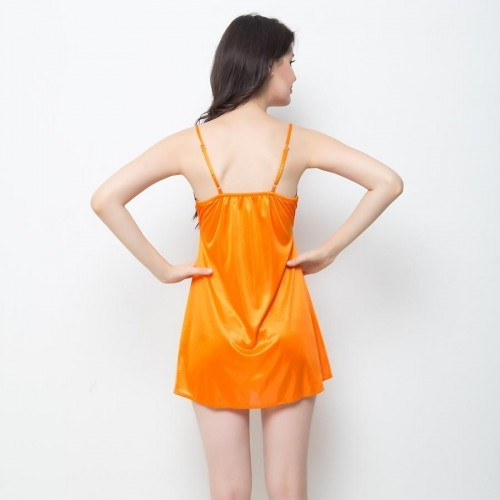 Clovia Sexy Solid  Dark Orange Soft Satin Babydoll