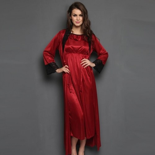 56c83687de ... Clovia 2 Pcs Satin Nightwear Set in Maroon   Black - Long Robe   Nightie  ...