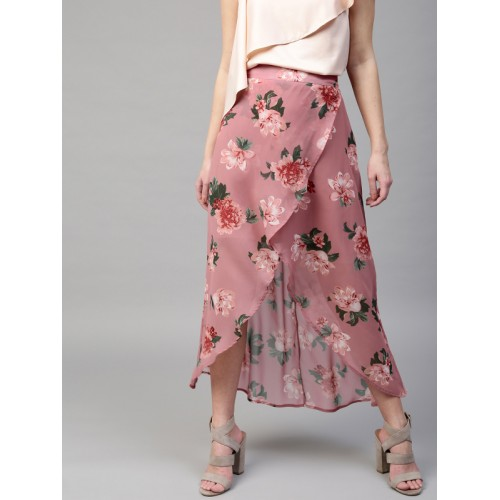 3b85a78a13 ... SASSAFRAS Pink & Green Floral Print High-Low Maxi Tulip Skirt ...