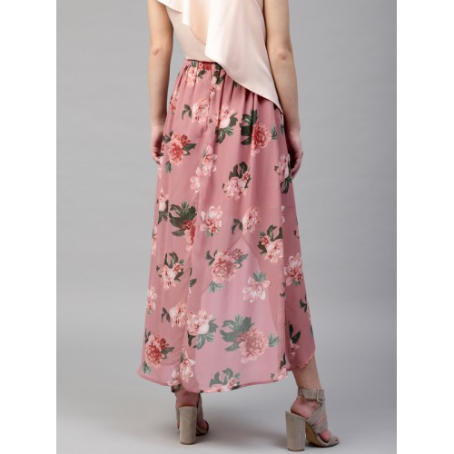SASSAFRAS Pink & Green Floral Print High-Low Maxi Tulip Skirt