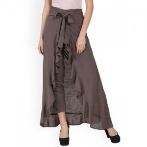 Nayo Taupe Solid Flared A-Line Skirt