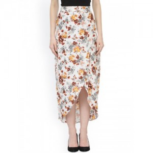 Cation White Floral Print Tulip Midi Skirt