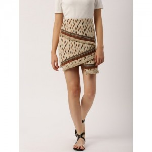 DressBerry Beige Printed A-Line Skirt