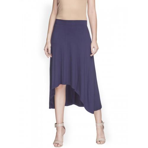 2f5c965856 Buy Globus Solid Blue Knee-Length Skirt online | Looksgud.in