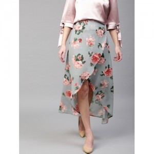 SASSAFRAS Blue & Peach-Coloured Floral Print Maxi Tulip Skirt
