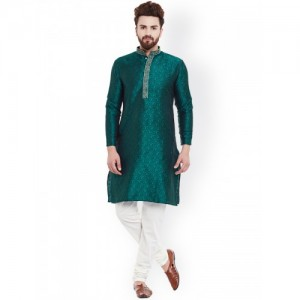 SOJANYA Teal Green & White Kurta Churidar