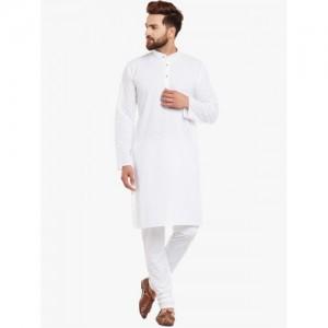 SOJANYA Men White Self Design Kurta with Churidar