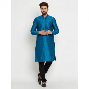 SOJANYA Men Blue & Black Self Design Kurta with Pyjamas