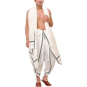 Exotic India White Solid Dhoti and Angavastram Set with Striped Border