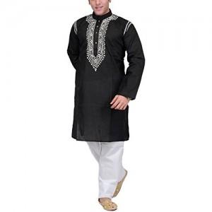 Exotic India Black Pure Cotton Kurta Pyjama (SPC56-38 Black_38)