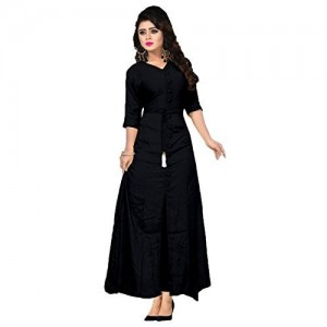 New Generation Fashion Hub Black Rayon Long Anarkali Kurti
