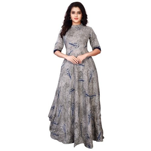 a53d31deb0 ... Gown  Fkart Women s Grey Cotton Digital Printed Stitched Party Wear ...
