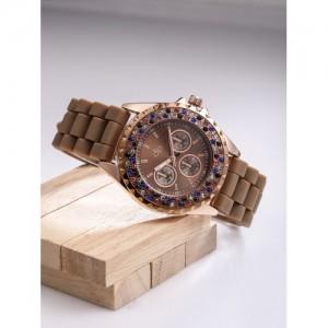 DressBerry Coffee Brown Round Digital Watch