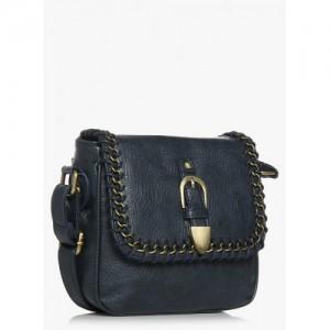 Lino Perros Navy Blue Polyurethane (Pu) Sling Bag