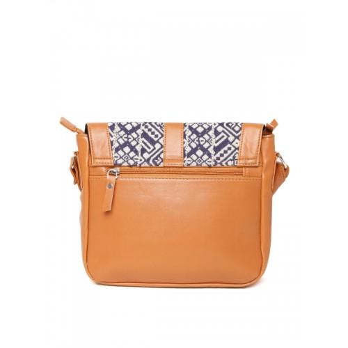 Kanvas Katha Tan Self Design Sling Bag