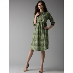 HERE&NOW Women Green Printed A-Line Dress