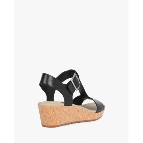 70018471017a Buy CLARKS Black Kamara Kiki Leather Wedges online