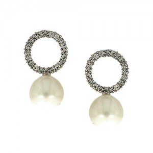 Anuradha Art Silver Finish Round Shape Styled With American Diamonds Designer Earrings