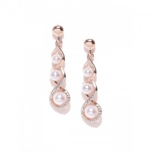Jewels Galaxy Off-White Gold-Plated Beaded Handcrafted Drop Earrings