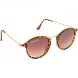 Danny Daze Brown Metal Oval Sunglasses