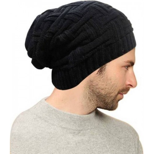 ... Babji Black Slouchy woolen Long Beanie Cap for Winter skull head Unisex  Cap ... d5572fee56c