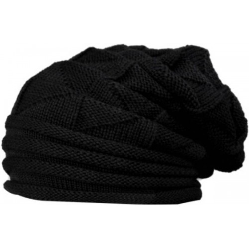 bcf227d37ef ... Babji Black Slouchy woolen Long Beanie Cap for Winter skull head Unisex  Cap ...