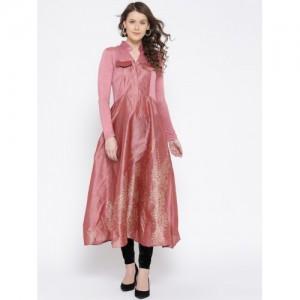 Ira Soleil Women Pink Solid Anarkali Kurta