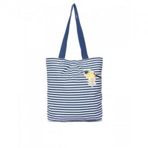 Kanvas Katha Blue & White Striped Tote Bag
