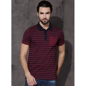 Roadster Maroon Cotton Striped Polo T-Shirt