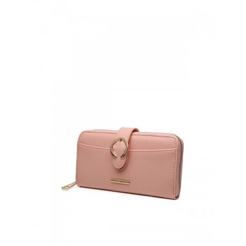 Diana Korr Peach Polyurethane Textured Zip Around Wallet