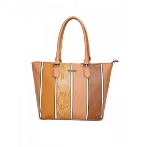 Addons Tan Striped Tote Bag