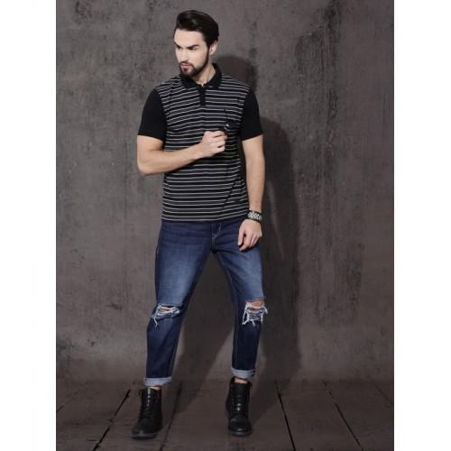 Roadster Grey & Black Cotton Striped Polo T-Shirt