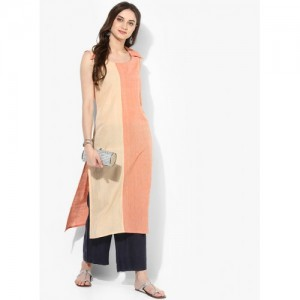 Indusdiva Orange Solid Mangalgiri Handloom Kurta