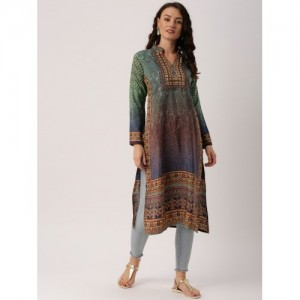 IndusDiva Women Multicoloured Printed Straight Kurta