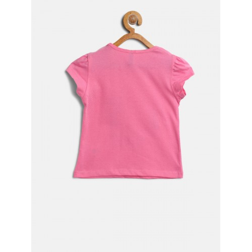 United Colors of Benetton Pink Cotton Printed Top